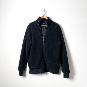 Kangol Black Sherpa Zip Up Winter Coat